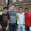 Boys receiving their IB results